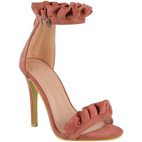 abe610edb40 Fashion Thirsty Womens Frill Detail High Heels Sandals Ankle Cuff Party  Stilettos Size