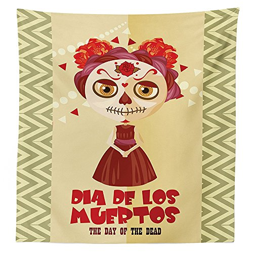[Day Of The Dead Decor Tablecloth Spanish Dia de los Muertos Print Girl with Gothic Makeup Dining Room Kitchen Rectangular Table Cover Cream Burgundy and] (Monster High Dia De Los Muertos)