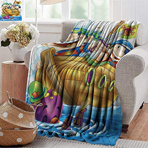 Xaviera Doherty Throw Blankets Fleece Blanket Kids,Cute Pirates on Ship Nursery Microfiber All Season Blanket for Bed or Couch Multicolor ()