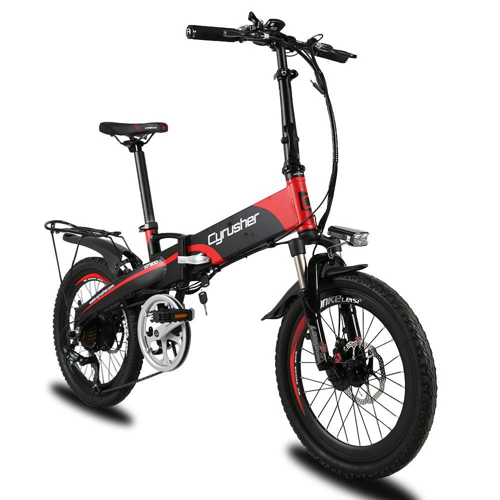 Cyrusher XF500 アシスト自転車 折りたたみ 20インチ MTBマウンテンバイク 48V*10AHリチウムバッテリー 専用充電器付 荷台付 B07DVTZJWH red red
