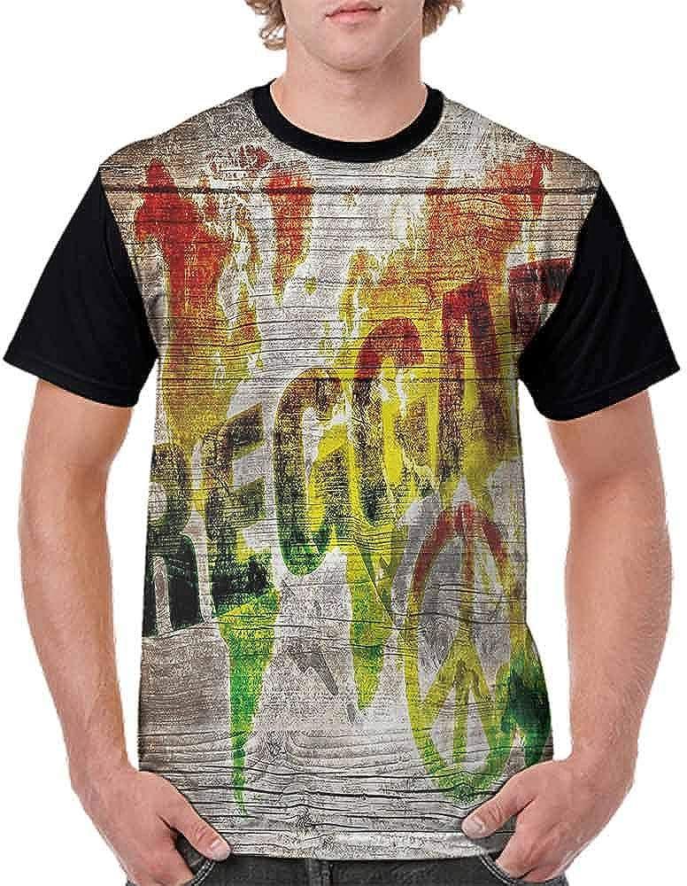 BlountDecor Performance T-Shirt,World Map Reggae Quote Fashion Personality Customization