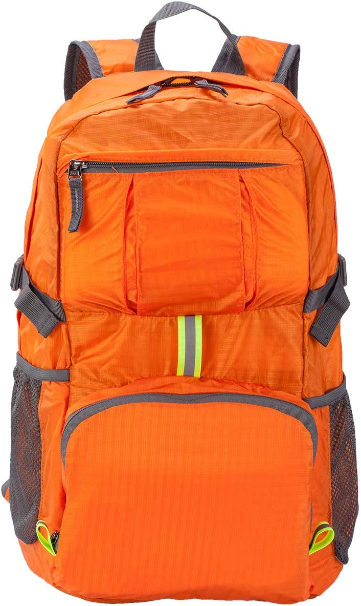 Hiking Backpack Fold UP Back Pack Small Water Resistant Backpack Hiking Bookbags for Travel Colapsable Lightweight Backpack Camping Backpack for Men and Women Assorted Colors Orange/&Black