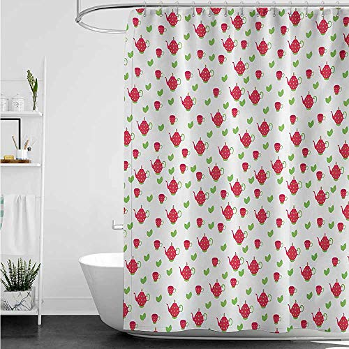 home1love Kids Bathroom Shower Curtain,Tea Party Teapots with Polka Dots and Leaves Tea Time Image Beverage British Design,Waterproof Colorful Funny,W94x72L,Dark Coral ()