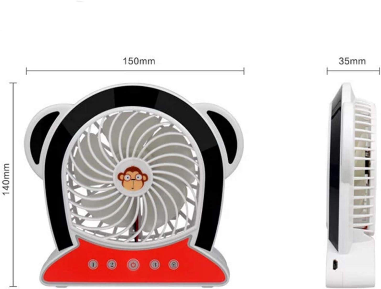 HAIMEI-WU USB Charging Fan Three-Speed Mute Miniskirt Cartoon Fan Portable Desktop Fan Monkey Element Brushless Motor Mini Electric Fan Color : Brown