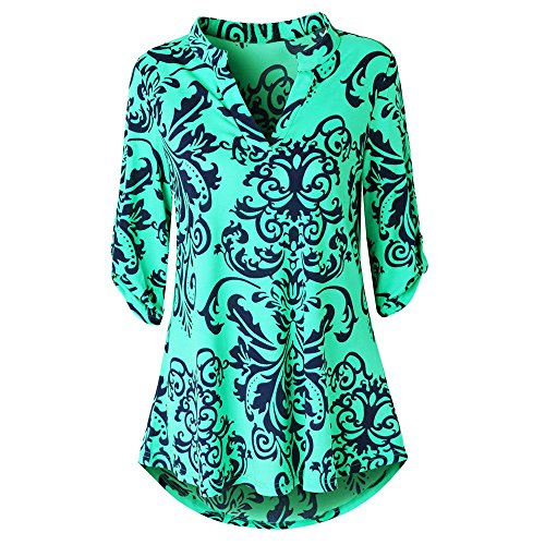 LUCA Womens Roll-Up Long Sleeve Top Casual Floral Printed Casual V Neck Layered Blouses from LUCA