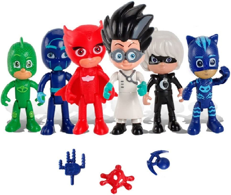 PJ Masks - Pack de 6 Figuras y 3 Armas: Gatuno, Buhíta, Gekko ...