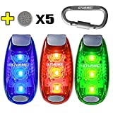 STURME LED Safety Light Strobe Lights for Daytime Running Walking Bicycle Bike Kids Child Woman Dog Pet Runner Best Flashing Warning Clip on Small Reflective Set Flash Walk Night (Blue Green Red)