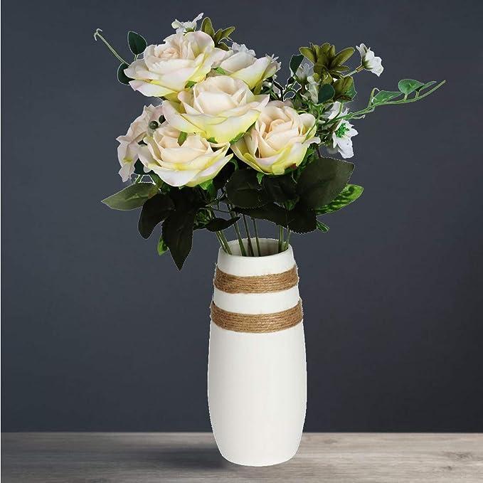 Caeser Archy jarrón de cerámica moderna flores blancas jarrones para la sala de estar decoración del hogar creativo decorativo adornos de cerámica Alto ...
