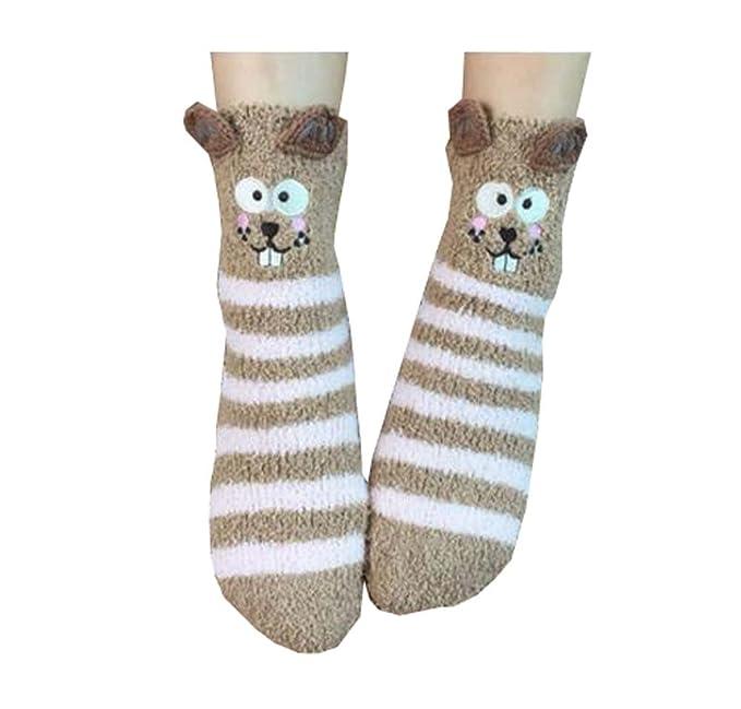 1 par de calcetines adultos de lana de coral vellón calcetines de ...