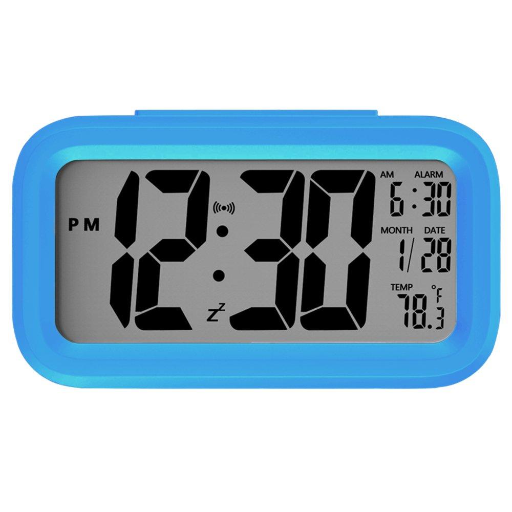 Alarm Clock, Auoinge Digital Travel Alarm Clock with Large Display Bold Number Calendar Temperature Snooze Smart Backlight Function, Battery Operated Alarm Clock for Home Office Kids Room Desk DMcore