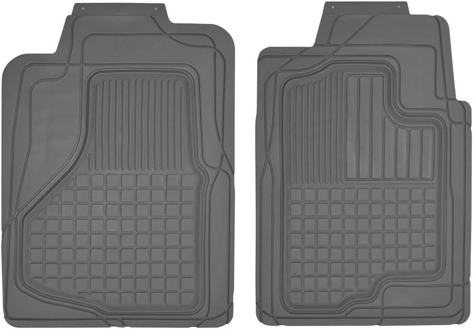 Motor Trend MT-150-GR 2 Front Weather Semi-Custom Heavy Duty Rubber Floor Mats for Auto Car Truck SUV-Gray