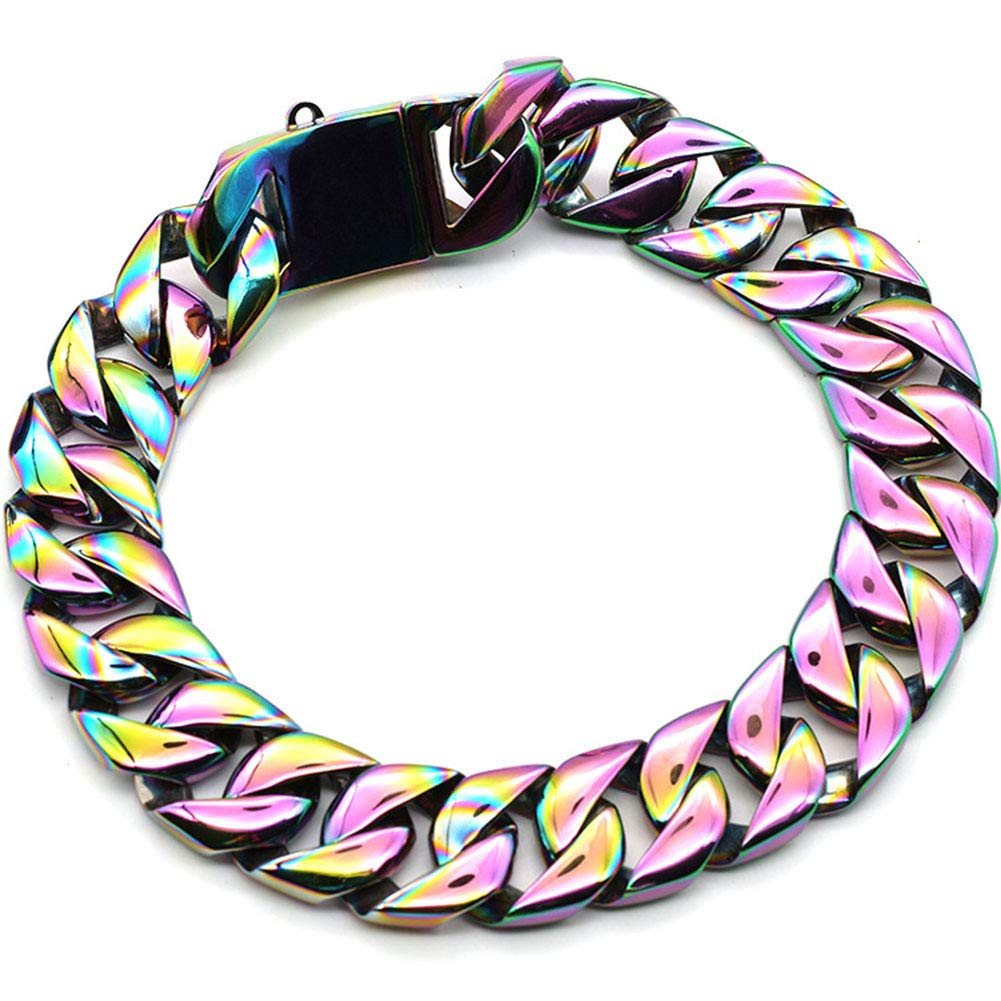 MUJING 30 mm Wide Hip Hop Electroplated Rainbow Colored Tone Cut Curb Cuban Link 316L Stainless Steel Dog Choke Chain Collar 40-70 cm,XXXXL by MUJING (Image #2)