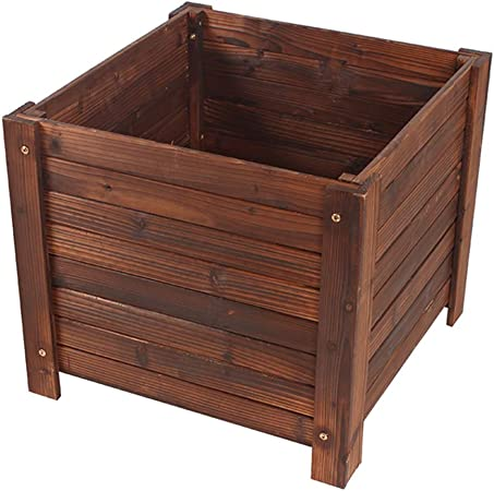 FQJYNLY Jardinera de Madera Jardinera De Madera Kit De Cama De Jardín CuadradoMaciza Carbonizada Agujero De Drenaje Tornillos De Metal, Fácil De Instalar, 3 Tamaños (Color : Brown, Size : 80X80X67CM): Amazon.es: Hogar