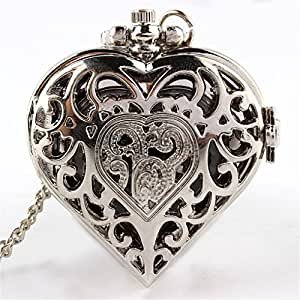 O.RIYA Vintage Heart Pendant Watch Necklace with 15 Chain