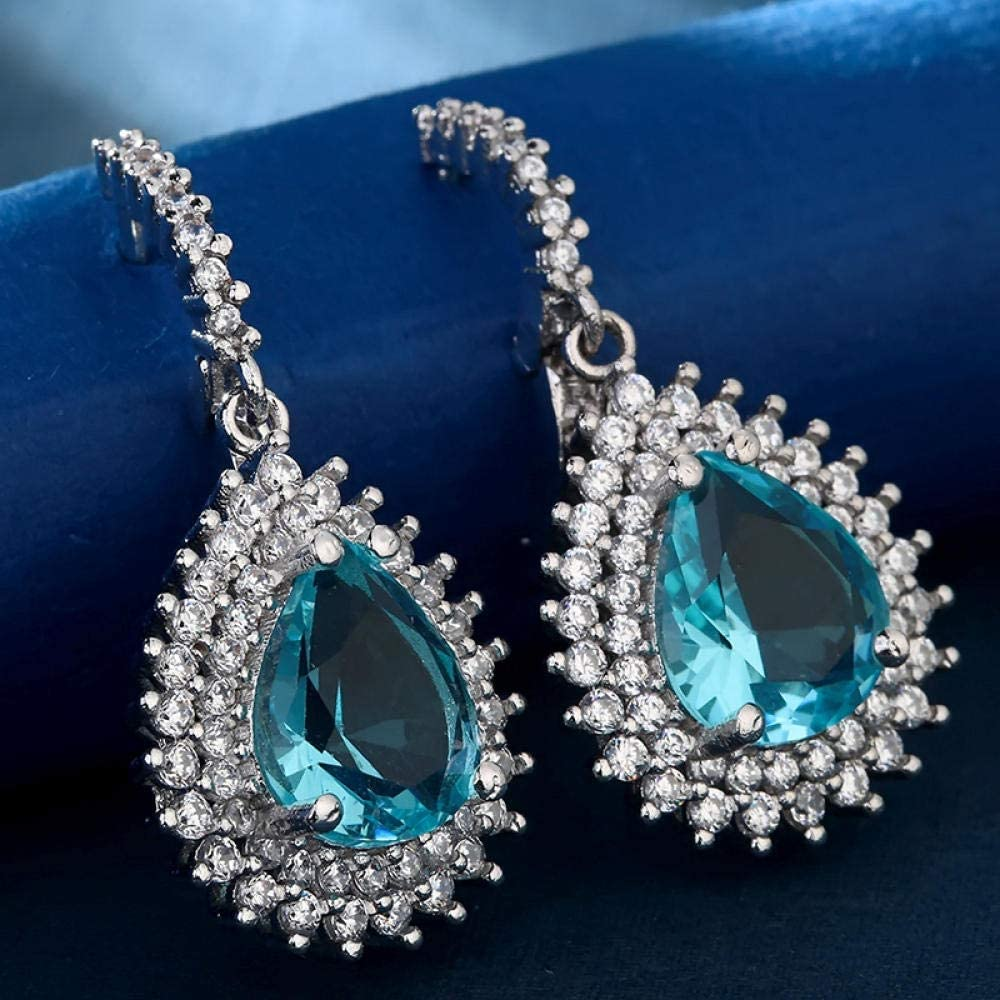 Erin Earring Moda Gota De Agua Azul Marino Pendientes De Circón Joyería De La Boda Regalo Pendiente De Cristal De Plata Z5Q326