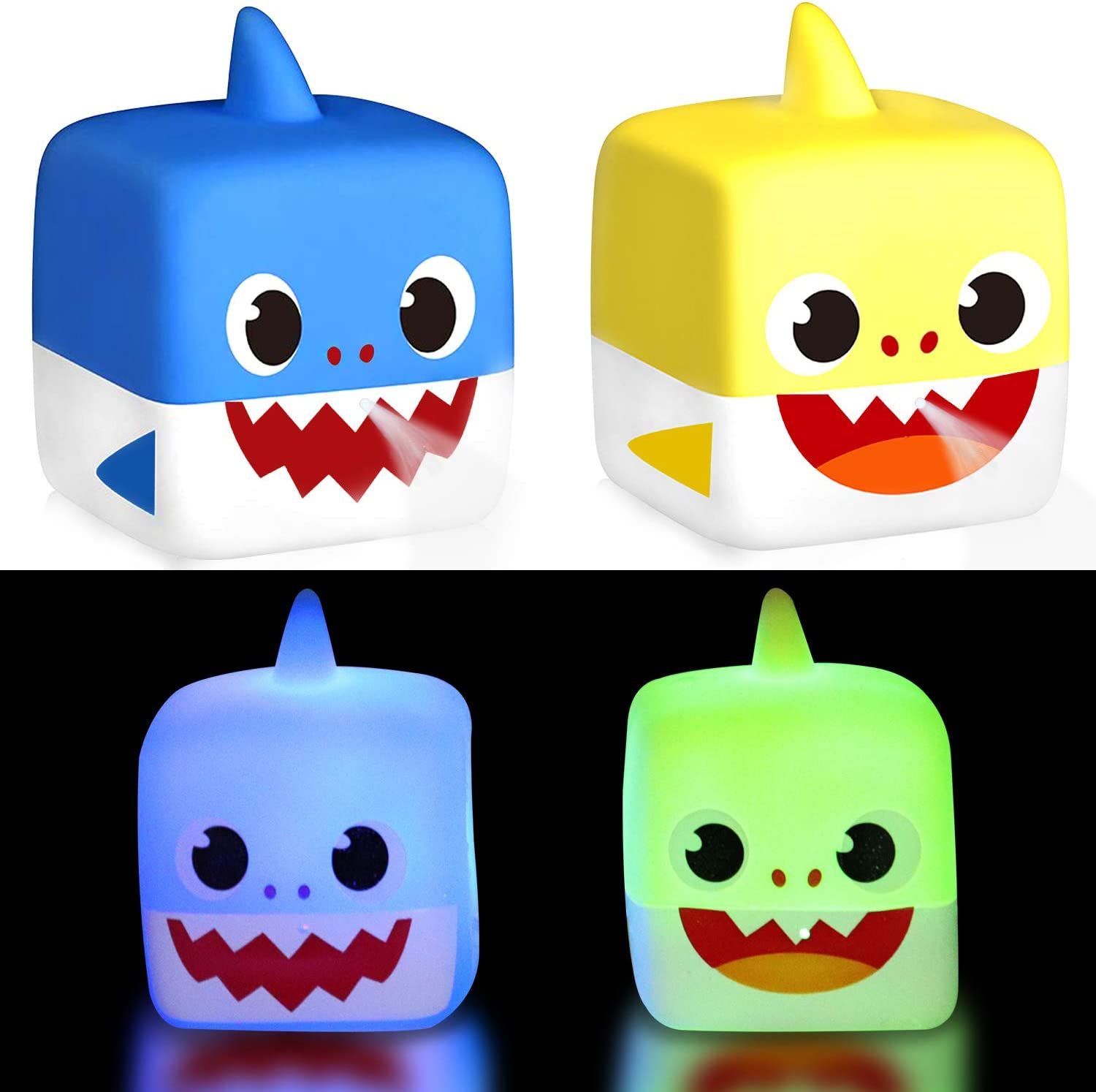 Tinabless Baby Sharks Light Up Bath Toys, Flashing Color in Water & Spray Water Rubber Floating Set for Kids Babies and Toddlers Bathtub Bathroom Shower Games Swimming Pool Party (2 Piece)