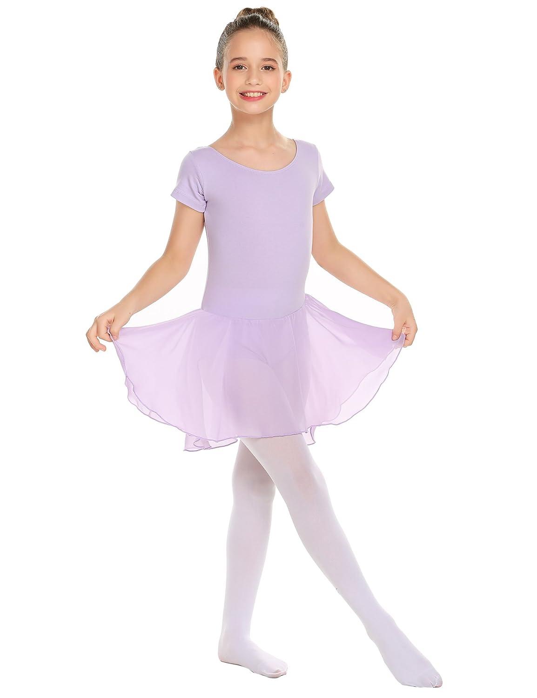 Arshiner Girls Classic Short Sleeve Leotard Gymnastics Dance Ballet Dress ASS005334