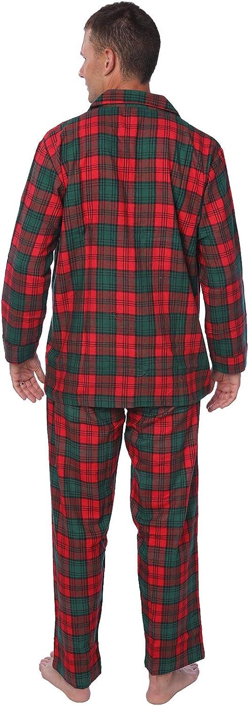 Beverly Rock Mens Brushed 100/% Cotton Flannel Plaid Pajama Set