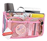 Purse Organizer,Insert Handbag Organizer Bag in Bag (13 Pockets 15 Colors 3 Size) (M, pink flowers)