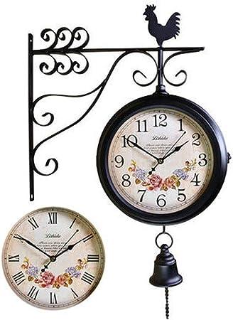 UHRKS Reloj de Pared, jardín Exterior de Doble Cara en la estación de Tren de Soporte Reloj Redondo con decoración Lateral de la Pared rodante Decoración del hogar Metal, E, 16 Pulgadas:
