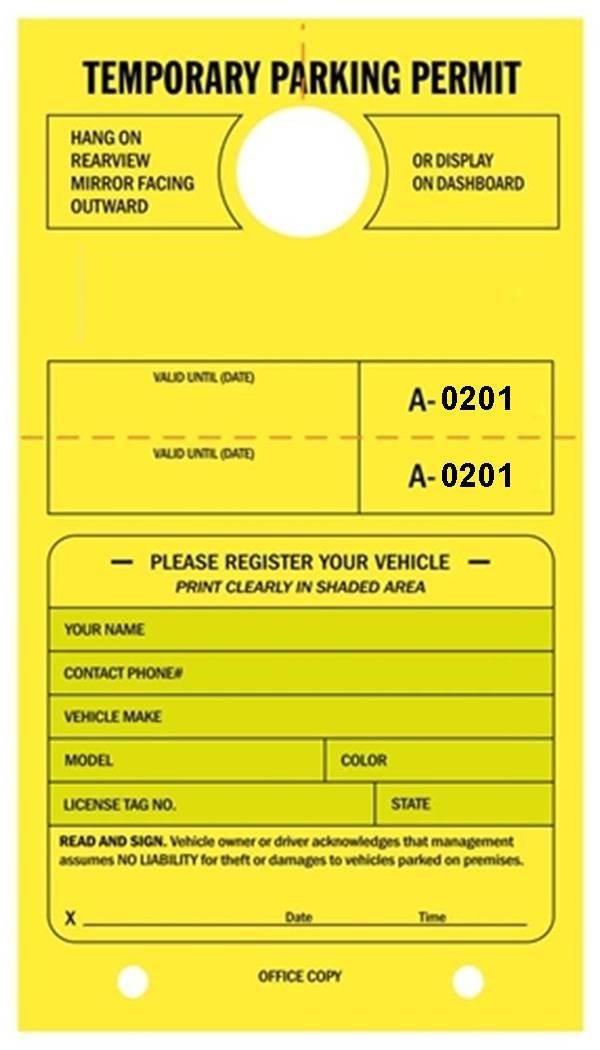 Temporary Parking Permit - Mirror Hang Tags, Numbered with Tear-Off Stub, 7-3/4'' x 4-1/4'', Bright Fluorescent Yellow - Pack of 50 Tags (0201-0250)