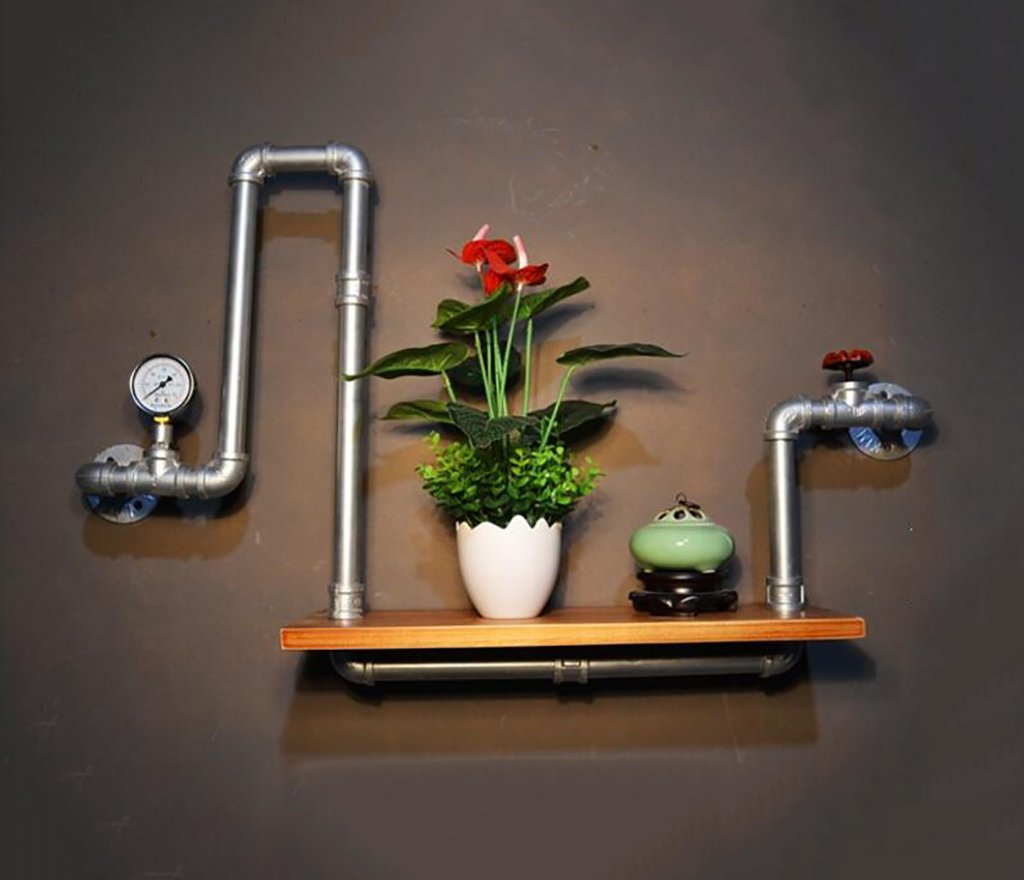 Decorative Accessories Wall Mounted Shelves LOFT Retro Iron Water Pipe Bookshelves Potted Display Stand Living Room Background Wall Decoration Shelves Floating Shelves