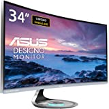"""Asus MX34VQ Designo Curved 34"""" Monitor UQHD 100Hz DP HDMI Eye Care Monitor with Adaptive-Sync"""