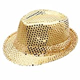 Geekbuzz Unisex Sequin Fedora Hat Colorful Bling Trilby Sequin Hat Fancy Dress for Stage Show Glitter Dance Hat Disco Hat Jazz Hat Party Costume Cap for Adult/Kids(Gold, Kids)