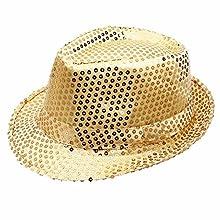 Funkeet Sequin Fedora Hat Solid Color Cap Jazz Dance Hats Glitter Party Costume for Kids & Adult(S - Kids, Gold)
