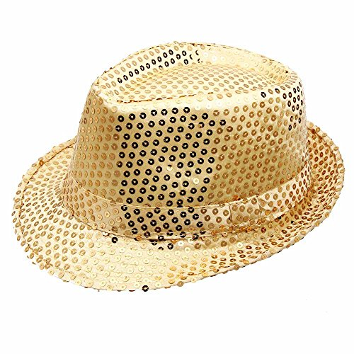 Funkeet Adult Sequin Fedora Hat Kid Dance Cap Solid Jazz Hat Party Glitter Costum (L-Adult, Gold)]()