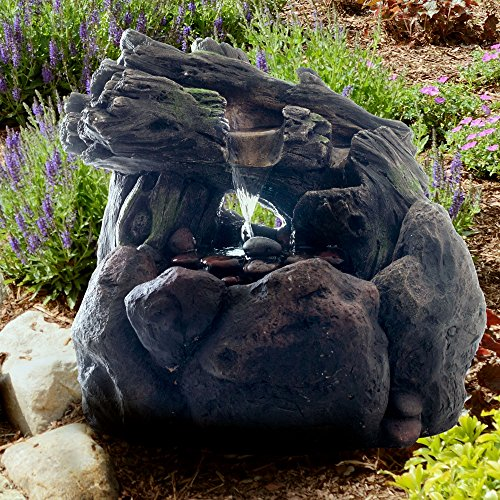 Outdoor Water Fountain With LED Lights- Lighted Rock Waterfall, Natural Looking Stone and Soothing Sound for Patio and Garden Décor By Pure Garden