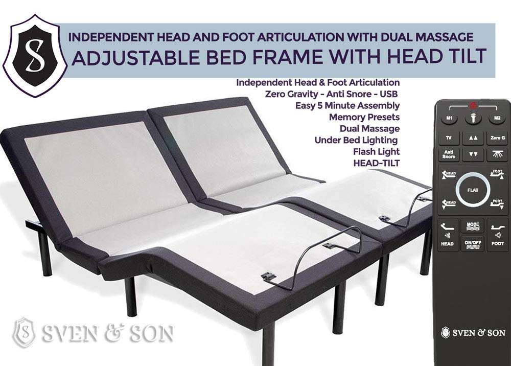 Split King Adjustable Bed Base Frame (Head Tilt) 5 Minute Assembly, Head & Foot Articulation, USB Ports, Zero Gravity, Interactive Dual Massage, Wireless, Classic by Sven & Son (Split King) by Sven & Son