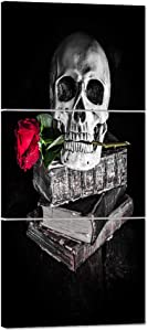 Halloween Painting Skull Face Black and White Canvas Skeleton Red Rose Wall Art Human Bone Prints Day of the Dead Home Decro Giclee,Home Decor Wooden Framed Stretched Ready to Hang(16''Wx36''H)