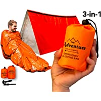 Emergency Sleeping Bag & Tent Shelter, Combo Prepper kit Survival Tent, Includes Bivy Sack Tent, Sleeping Bag, Fire…