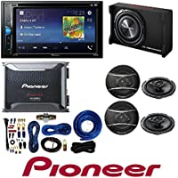 Pioneer 2-Din 6.2 DVD/iPhone/Android/Bluetooth Receiver GM-D8601 1600W Monoblock Class-D Car Amplifier with subwoofer and 4 Gauge Amp Kit 320W 6-1/2 3-Way TSA Series Coaxial Car Speakers (2 PAIRS)