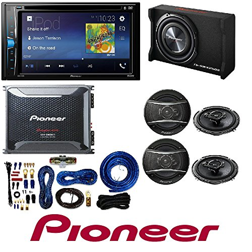 "Pioneer 2-Din 6.2"" DVD/iPhone/Android/Bluetooth Receiver GM-D8601 1600W Monoblock Class-D Car Amplifier with subwoofer and 4 Gauge Amp Kit 320W 6-1/2"" 3-Way TSA Series Coaxial Car Speakers (2 PAIRS)"