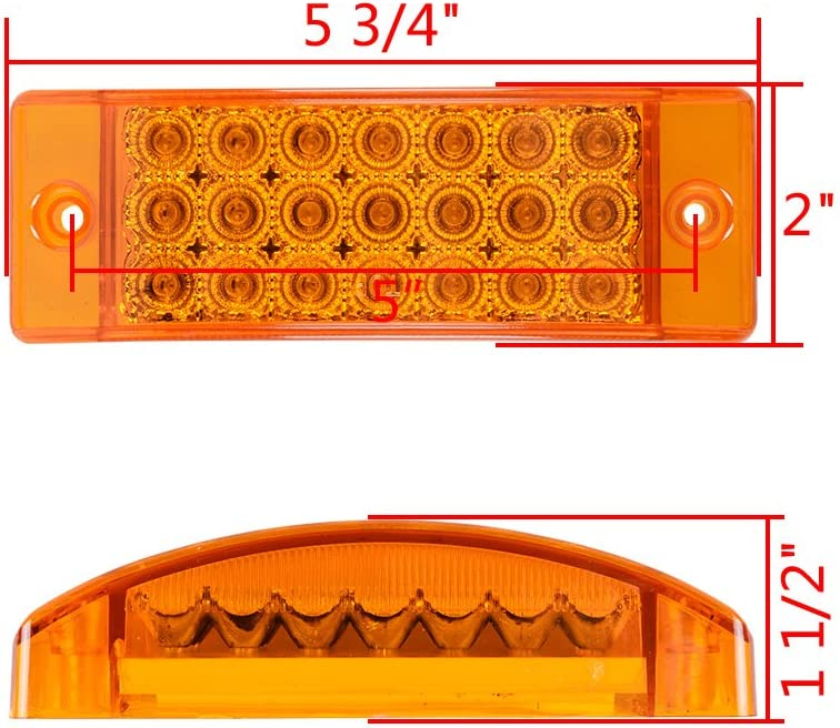 10pcs, Amber 21-LED Side Marker Reflector Rectangle Tail Marker Light Trailer Truck RV 3 Wires