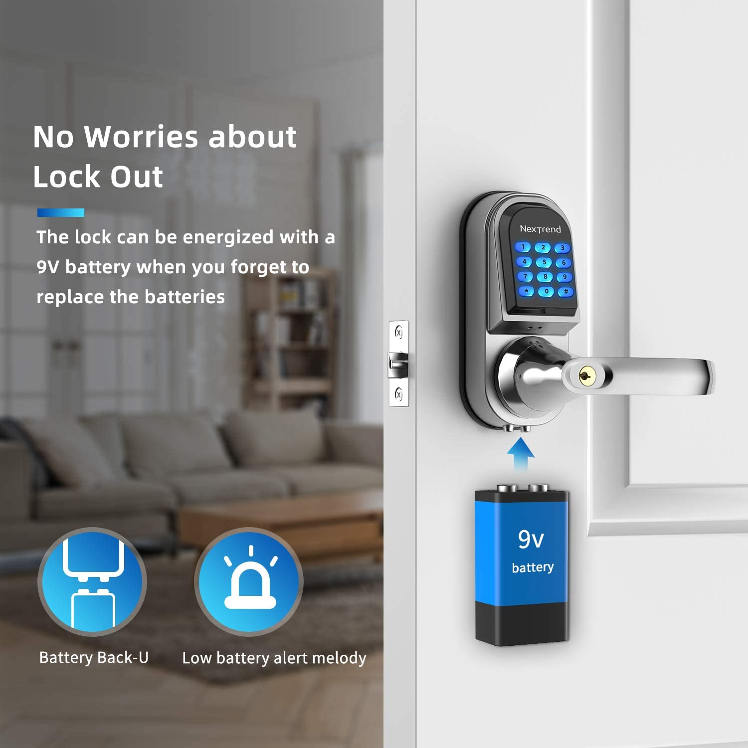 Bluetooth Lock Right Handle Hotel Apartment Touchscreen Mechanical Keys Free APP Enabled Auto Lock Real-time Record for Home NexTrend Electronic Door Lock with Bluetooth Keyless