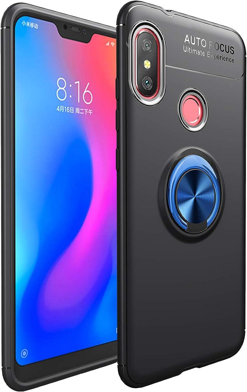 Funda Xiaomi Mi A2 Lite Teléfono Móvil Silicona Bumper Case Funda con Anillo Giratorio de 360 Grados Rotaria Ring Holder Protectora Caso