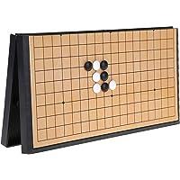 V GEBY Magnetiskt Go Game Board, Go Game Set Magnetiskt Hopfällbar Schackbräda Fällbart Trä Weiqi Board Pedagogiskt…
