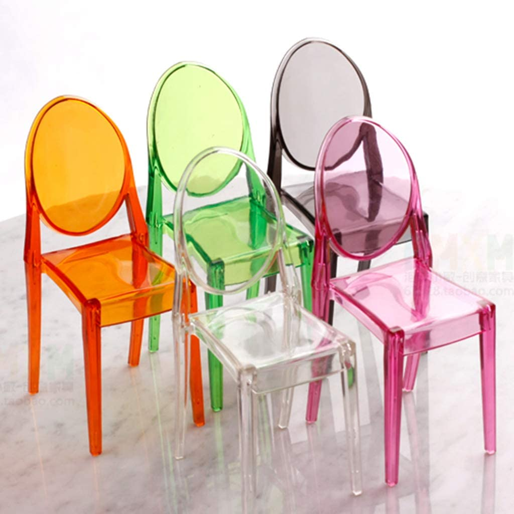 Beioust 1:6 Dollhouse Miniature Accessories Mini Doll House Clear Transparent Plastic Chair Furniture Decor Collection Gift