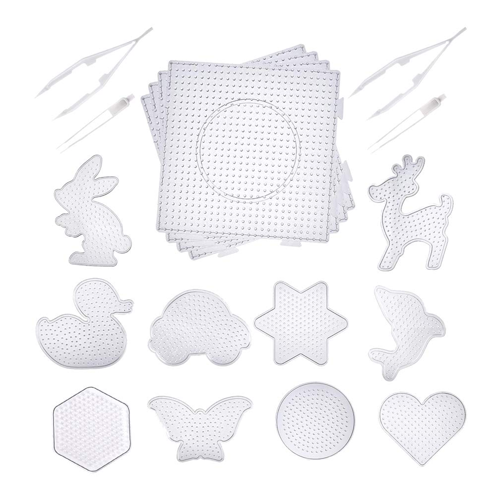 14pcs Fuse Beads Boards- 4 Pieces 5 mm Large Square Clear Plastic Pegboards 10 Pieces 5 mm Small Cute Fuse Beads Pegboards with 4 Pieces Fuse Bead Tweezers by Md trade