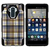MINITURTLE Case Compatible w/LG G Stylo Phone Case, Silicome and PC Shock Impact Stand Case w/Dazzling Designs for LG G Stylo LS770, H631, MS631, LG G4 Stylus Blue Brown Checker Plaid