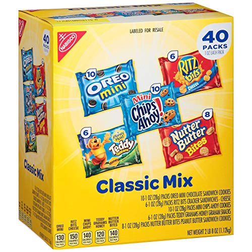 Nabisco Butter Cookies - Nabisco Fun Shapes Cookie & Cracker Mix, Variety Pack with Teddy Grahams, Chips Ahoy! Oreos, Nutter Butter and Ritz Crackers 40 Count Individual Snack Bags (40 Count)