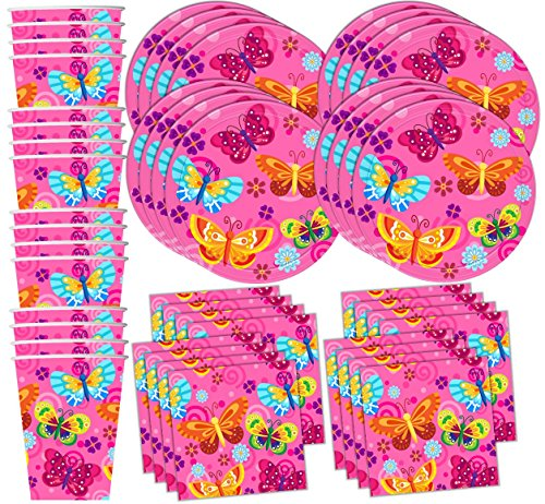 Whimsical Pink Butterfly Birthday Party Supplies Set Plates Napkins Cups Tableware Kit for - Butterfly Supplies Birthday Party