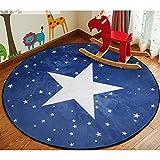 ZaH Cartoon Children Rug Bedroom Carpet Living Dining Bathroom Doormat Floor Mats Kids Room Decor Decorations for Infants Baby Toddlers, 4', Night Sky Star