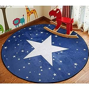 ZaH Cartoon Children Rugs Bedroom Carpet Living Dining Bathroom Doormat Floor Mats for Infants Baby Toddlers (Circle), Star, 4'