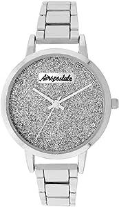 Aéropostale - Reloj de pulsera para mujer, cuarzo, metal y plata, esfera de galaxia, estilo casual