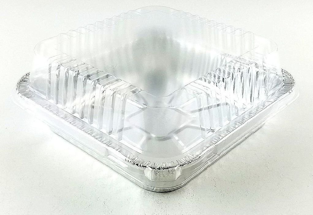 9''x9'' Square Cake Aluminum Foil Pan w/Clear Lid 50 Sets - Disposable Baking Pans by Osislon Series (Image #4)