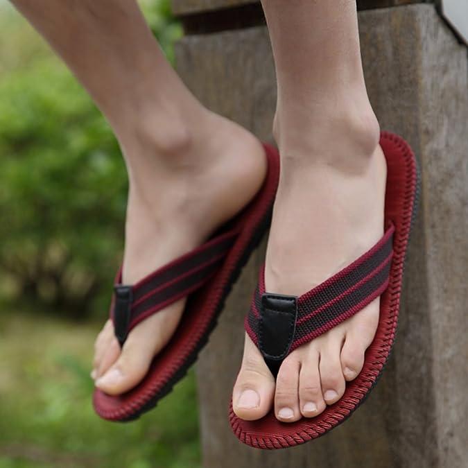 Verano Zapatillas de Gimnasia, Pareja Flip-Flop Men Playa Zapatillas Hombre Zapatillas Cool Estudiantes Zapatillas Clip Antideslizante (Color : E, Tamaño : 27cm)